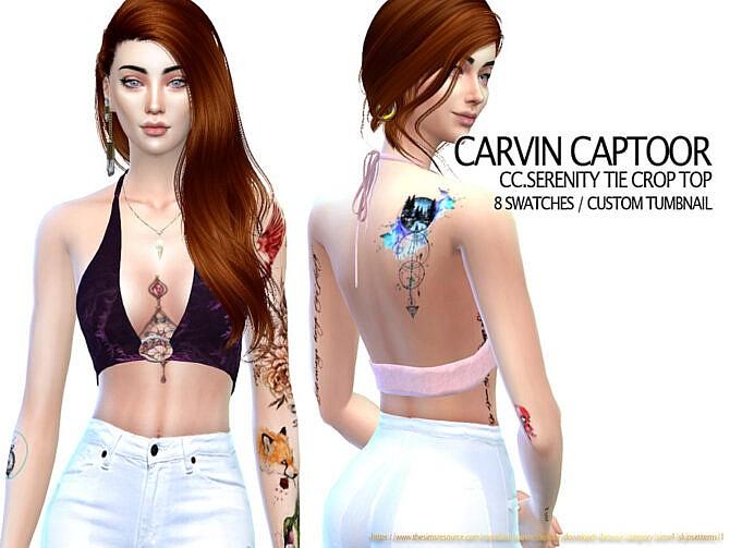 Sims 4 Serenity Tie Crop Top by carvin captoor at TSR