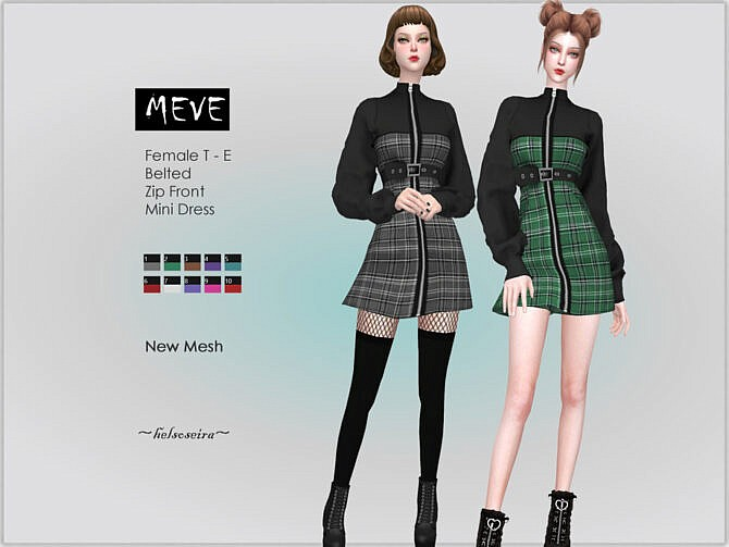 Sims 4 MEVE Belted Dress by Helsoseira at TSR