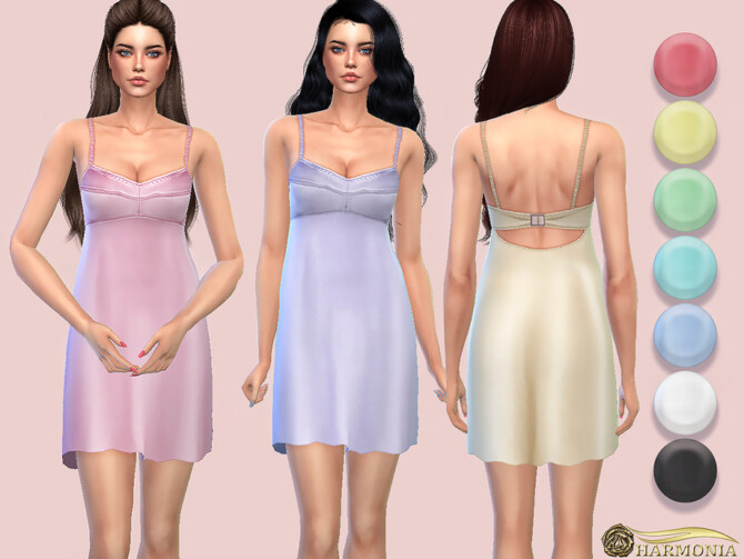 Sims 4 Open back Silhouette Dress with Bra like Top by Harmonia at TSR