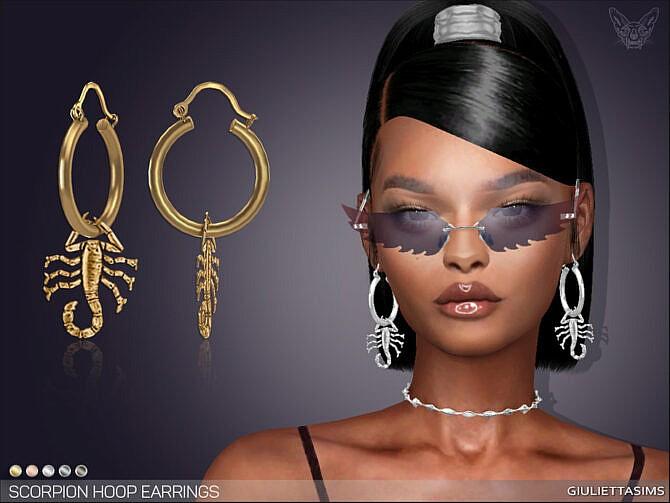 Sims 4 Scorpion Hoop Earrings by feyona at TSR