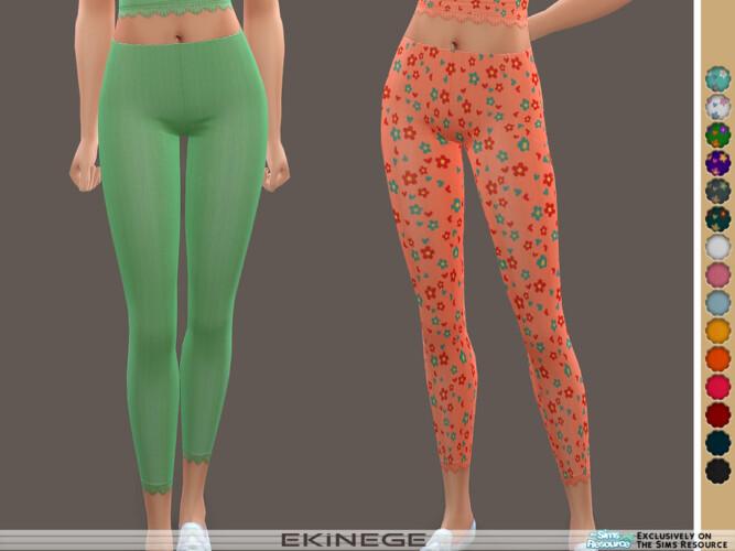 Ribbed Lace-trim Leggings By Ekinege