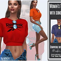 Women's T-shirt With Sunglasses By Sims House