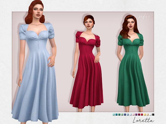 Sims 4 Loretta Dress by Sifix at TSR