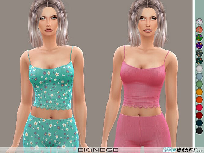 Ribbed Lace-trim Cami By Ekinege