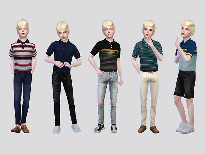 Sims 4 Grant Tucked Polo Shirts Boys by McLayneSims at TSR
