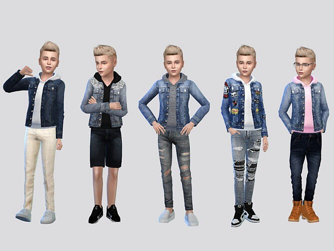 Sims 4 Bon Denim Hoodie Jacket Boys by McLayneSims at TSR