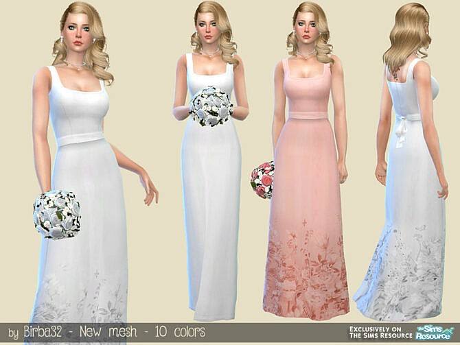 Sims 4 Pure Wedding Dress by Birba32 at TSR