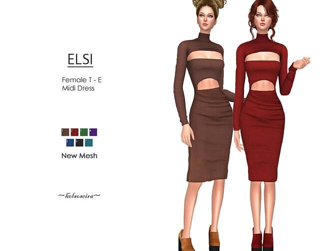 Sims 4 ELSI Midi Dress by Helsoseira at TSR