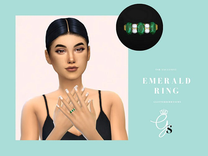 Sims 4 Emerald Engagement Ring by Glitterberryfly at TSR