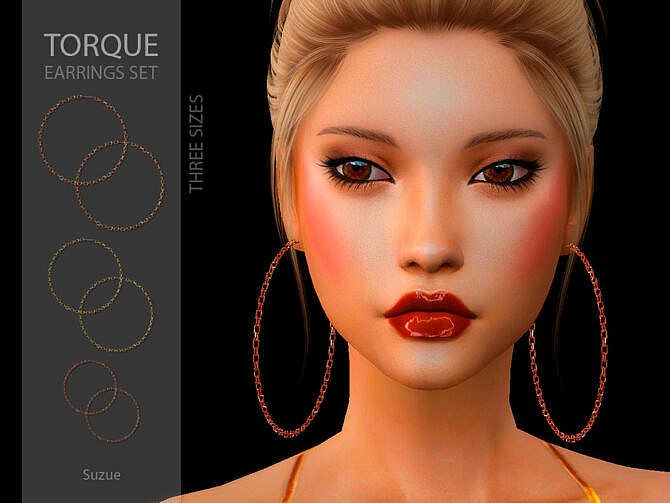 Sims 4 Torque Earrings Set by Suzue at TSR