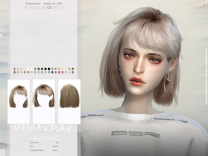 Sims 4 WINGS TO0410 Hair by wingssims at TSR