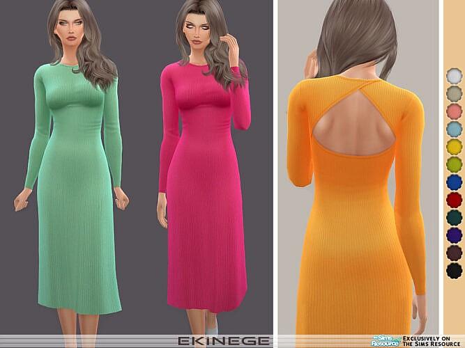 Cut Out Long Sleeve Midi Dress By Ekinege