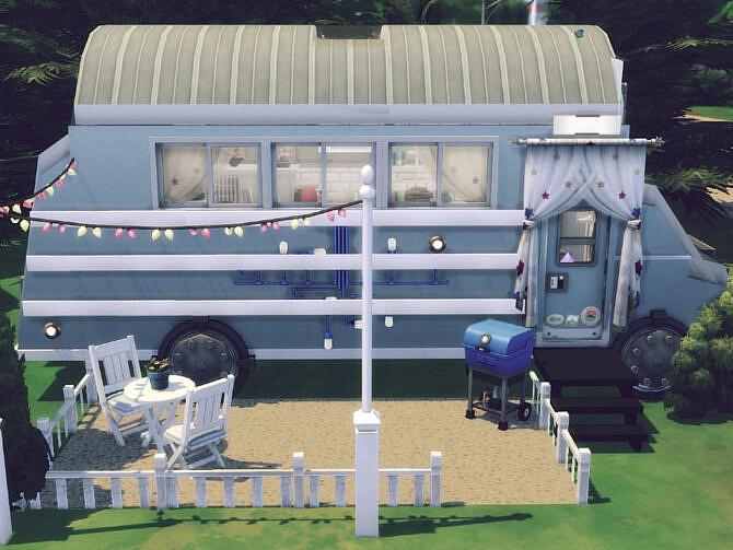 Sims 4 Blue Bus by GenkaiHaretsu at TSR
