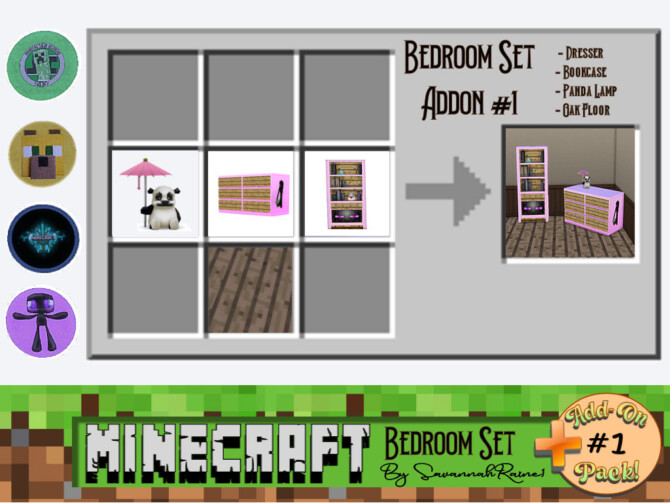 Sims 4 Minecraft Bedroom Set Add On Pack #1 by SavannahRaine at Mod The Sims 4
