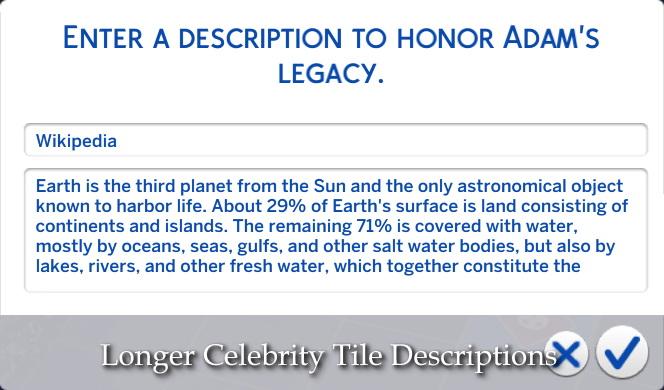 Sims 4 Longer Celebrity Tile Descriptions by lazarusinashes at TSR