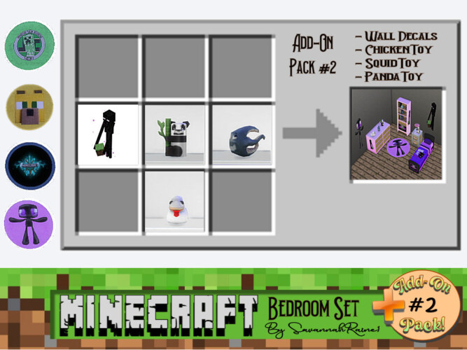 Minecraft Bedroom Set Add-on Pack #2 By Savannahraine
