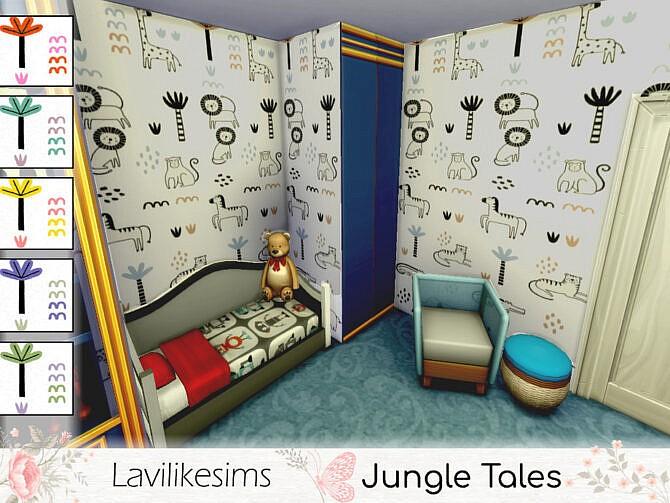 Sims 4 Jungle Tales Walls by lavilikesims at TSR