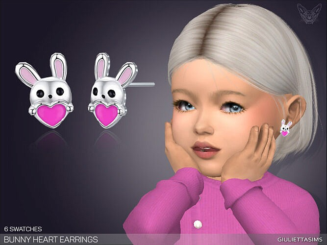 Bunny Heart Earrings For Toddlers By Feyona