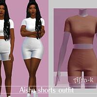 Aisha Shorts Outfit By Akaysims