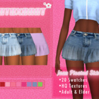 Jean Pleated Skirt By B0t0xbrat