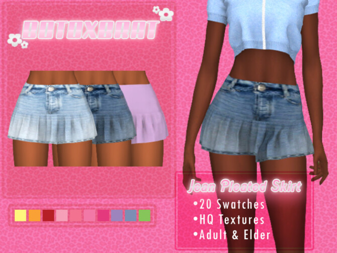 Sims 4 Jean Pleated Skirt by B0T0XBRAT at TSR