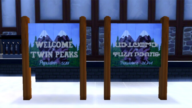Sims 4 Twin Peaks Town Sign by Staberinde at Mod The Sims 4