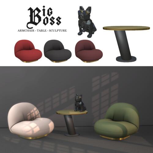 Big Boss Set: Armchair, Table & Sculpture