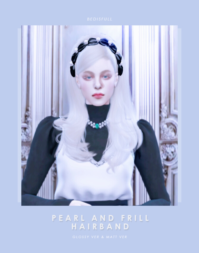 Sims 4 FM Pearl and frill hairband at Bedisfull – iridescent