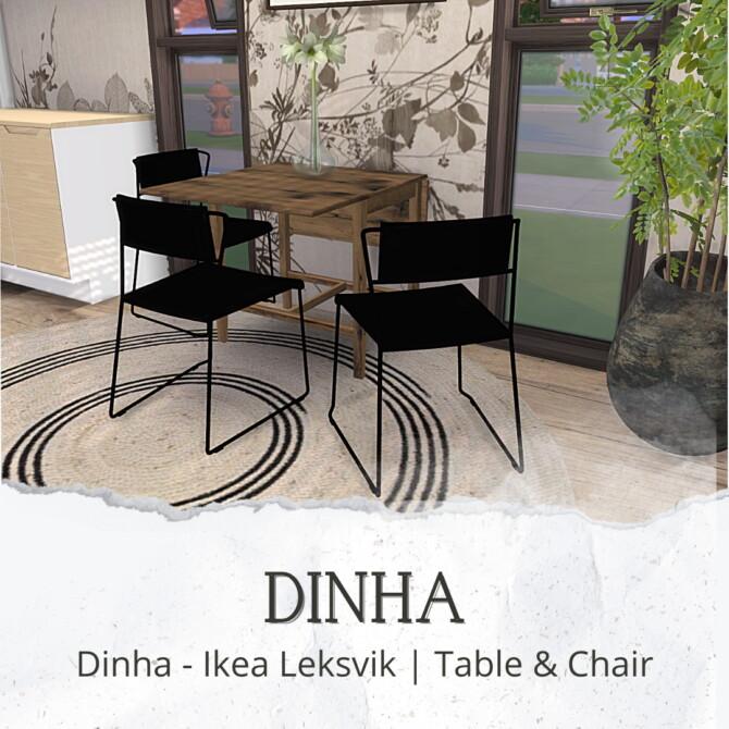 Sims 4 Leksvik Table & Chair (P) at Dinha Gamer
