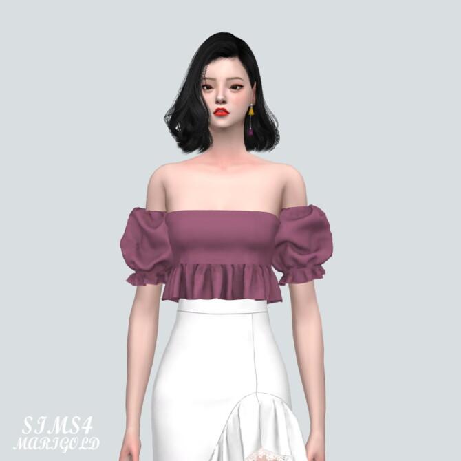 Sims 4 Puff Sleeves OS Blouse V2 at Marigold