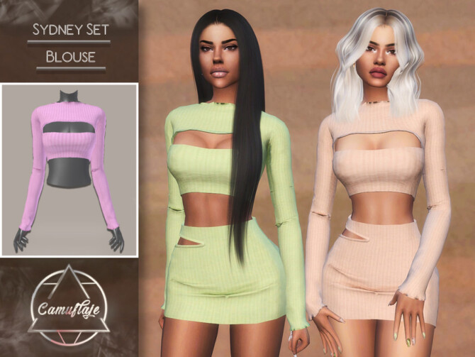 Sims 4 Sydney Set (Blouse) by CAMUFLAJE at TSR