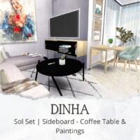 Sol Set: Sideboard, Coffee Table & Paintings
