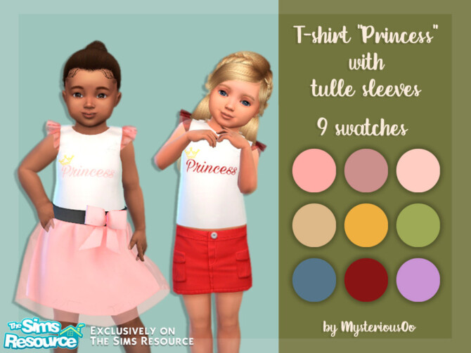 Sims 4 T Shirt Princess with tulle sleeves by MysteriousOo at TSR