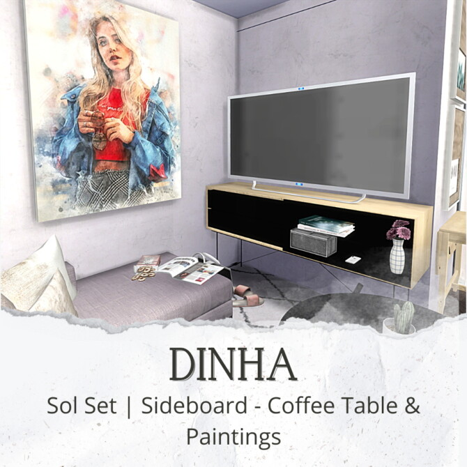 Sims 4 Sol Set: Sideboard, Coffee Table & Paintings (P) at Dinha Gamer