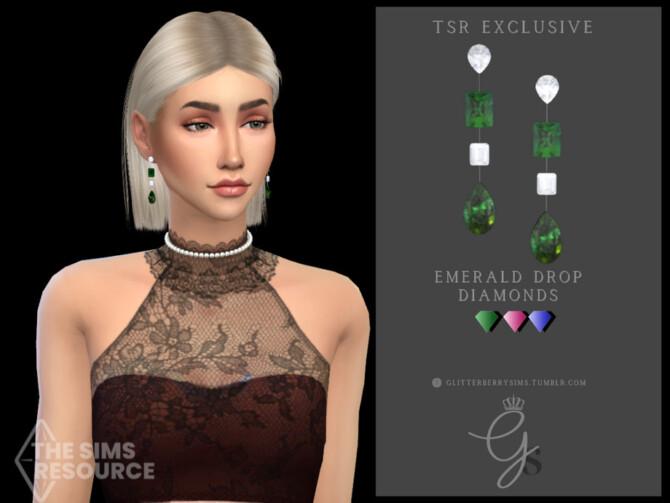 Sims 4 Emerald Drop Diamonds by Glitterberryfly at TSR