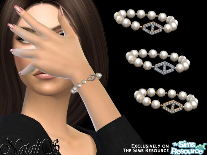 Diamond Hexagon Pearl Bracelet By Natalis