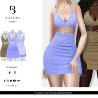 Plunge Cut Out Detail Bodycon Dress By Bill Sims