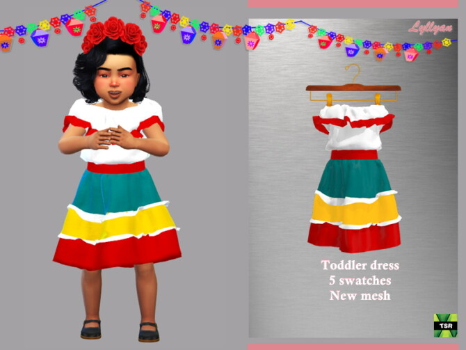 Sims 4 Toddler dress Cinco de Mayo by LYLLYAN at TSR