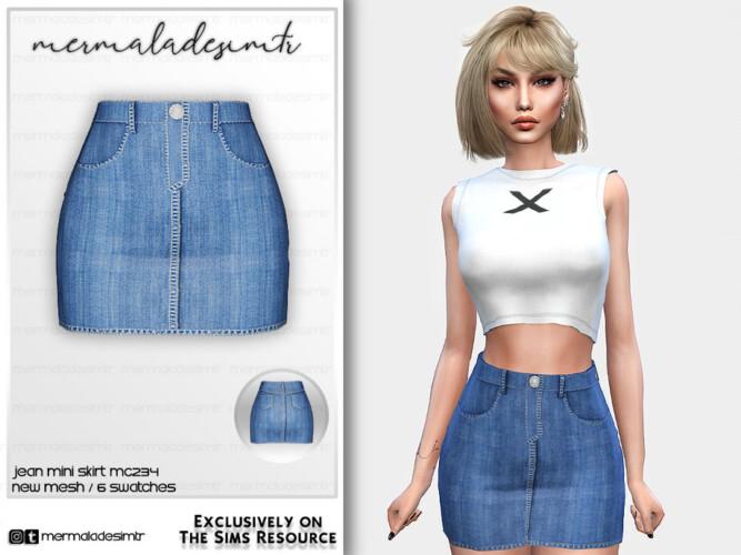 Denim Mini Skirt Mc234 By Mermaladesimtr