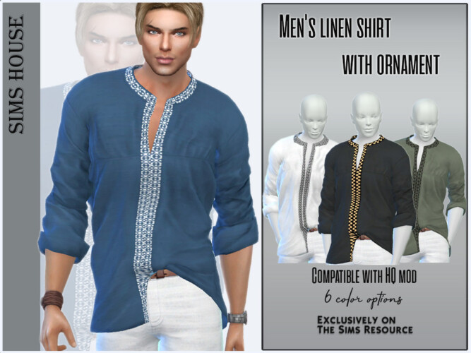 Men's Linen Shirt With Ornament By Sims House
