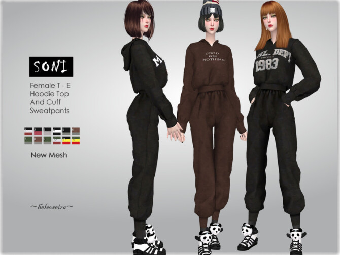Sims 4 SONI Hoodie and Sweat pants by Helsoseira at TSR