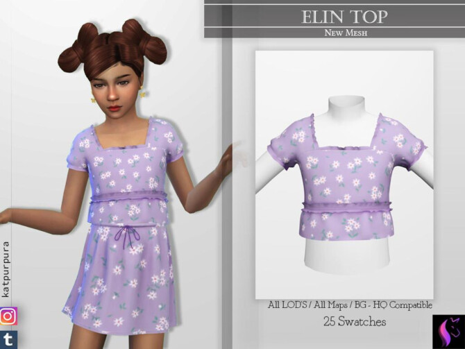 Sims 4 Elin Top by KaTPurpura at TSR