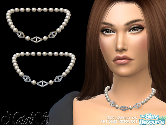 Diamond Hexagon Pearl Necklace V2 By Natalis