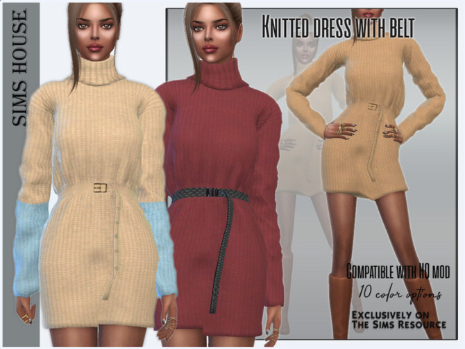 Sims 4 Knitted dress with belt by Sims House at TSR