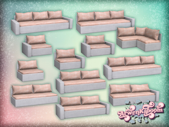 Sims 4 Pure Morning Sectional Sofa Recolor by ArwenKaboom at TSR