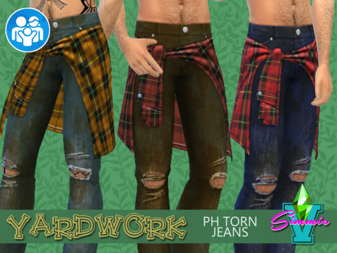 Sims 4 Yardwork PH Torn Jeans by SimmieV at TSR