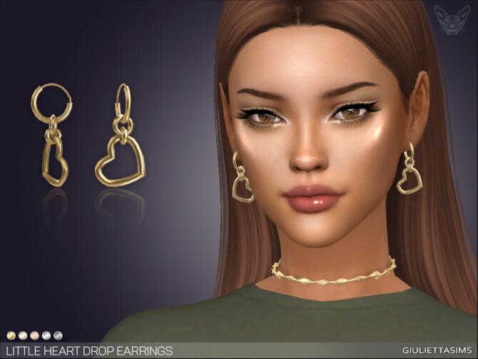 Sims 4 Little Heart Drop Earrings by feyona at TSR