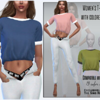 Women's T-shirt With Colored Cuffs By Sims House