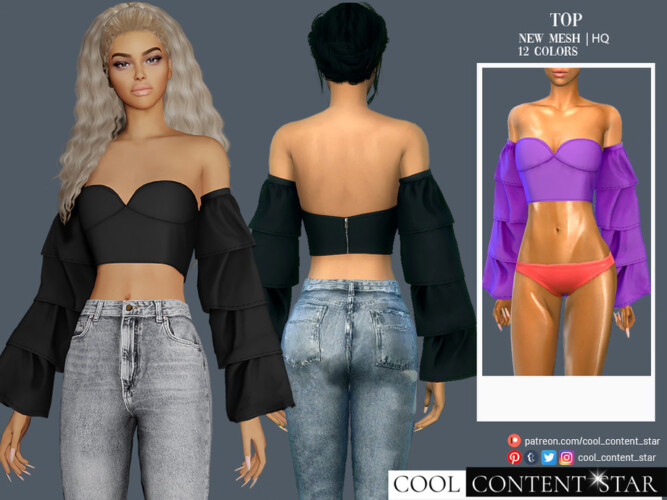 Wide Sleeve Top By Sims2fanbg