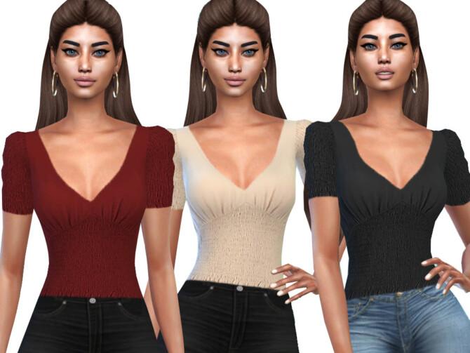 Sims 4 Smocked V Neck Blouses by Saliwa at TSR